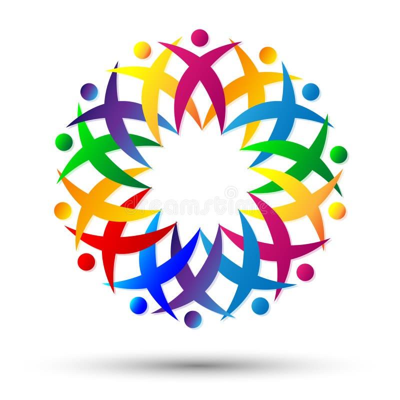 Menge von Leuten team den Arbeitsverband und jubelt oben im Kreis-Logo auf weißem Hintergrund zu lizenzfreie abbildung