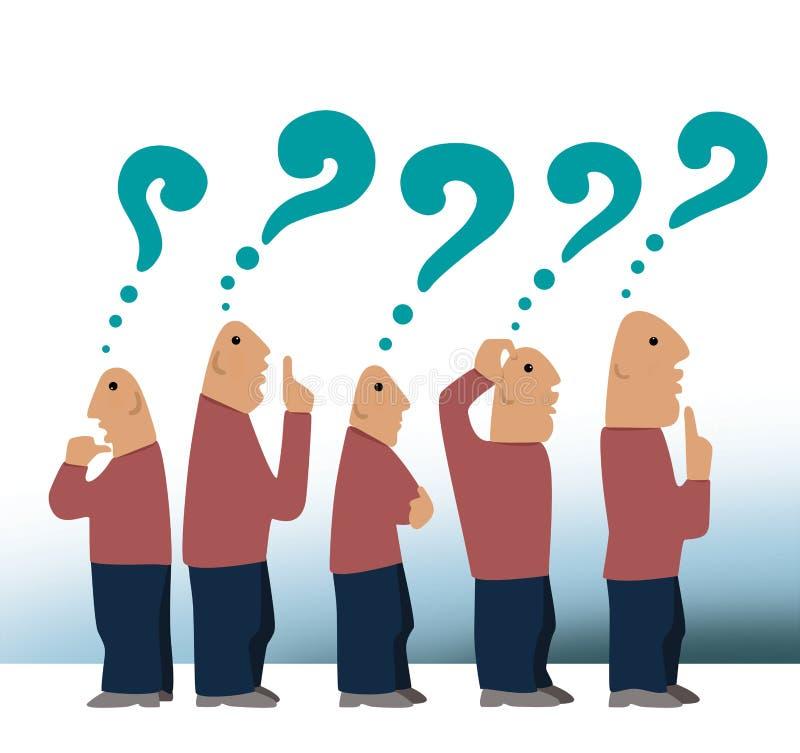 Menge von Männern erwägen Menge von fünf kahlen Männern beim Denken mit Fragezeichen über ihren Köpfen vektor abbildung
