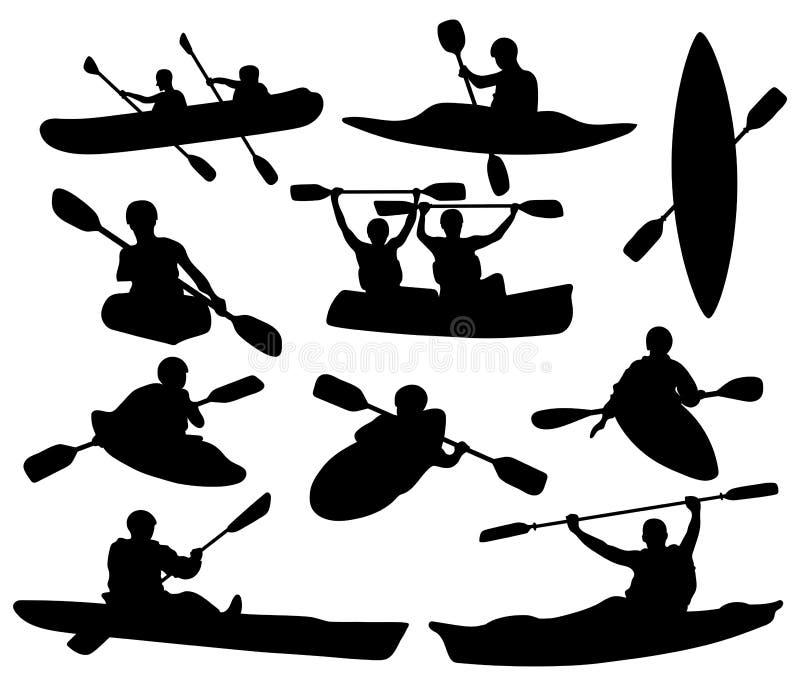 Menge von Silhouetten von Menschen, die in einem Kanu schwimmen Schwarz-Weiß-Abbildung eines Kajaks mit Männern Vektor-Ruderzeich stock abbildung