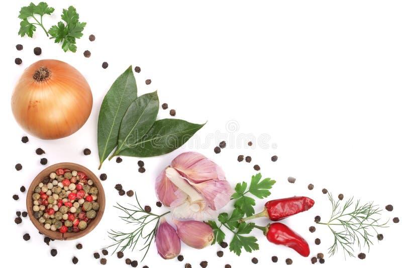 Mengeling van ui, knoflook, heet die peper, peperbollen en laurierblad op witte achtergrond met exemplaarruimte wordt geïsoleerd  stock foto