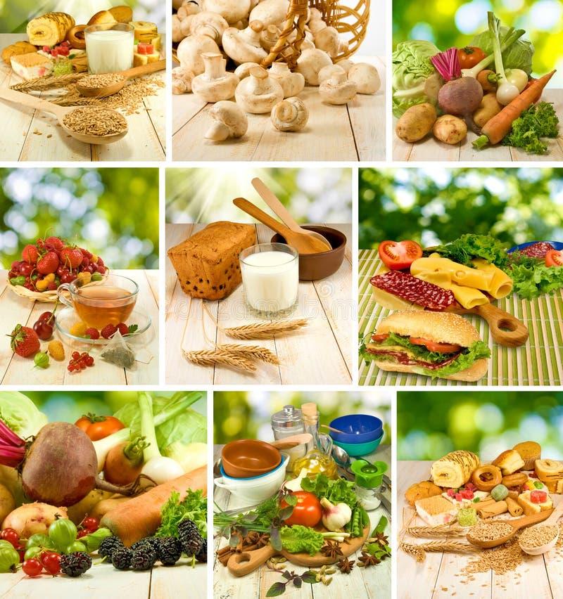 Mengeling van verschillend voedsel: groenten, vruchten, sandwiches, melk, cake en ander ingrediëntenclose-up stock afbeeldingen