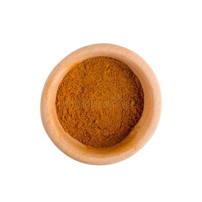 Mengsel van Indisch Kruiden en Geïsoleerd Kruidenpoeder stock foto