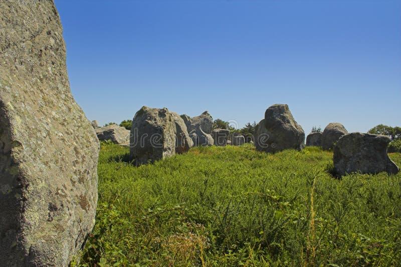 Menhir em Carnac-Brittany foto de stock