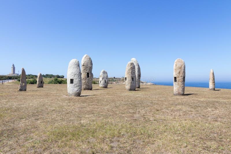 Menhires, ένα Coruna, Ισπανία στοκ εικόνες