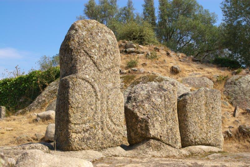 Menhirs de Filitosa em Córsega imagem de stock
