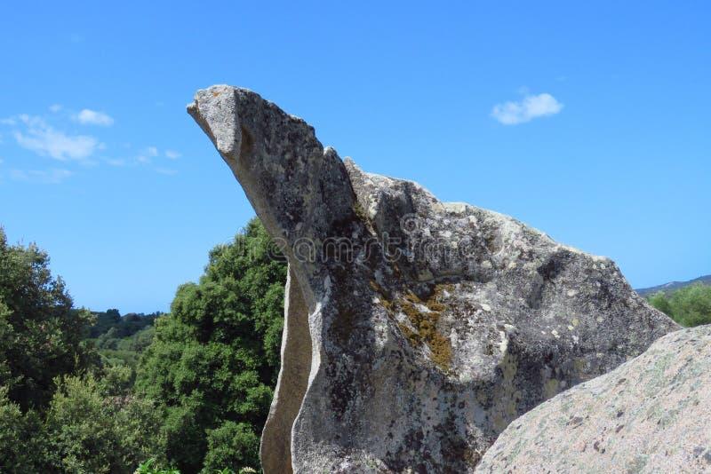 Menhirs i dolmen przy Filitosa, Corsica, Francja fotografia royalty free