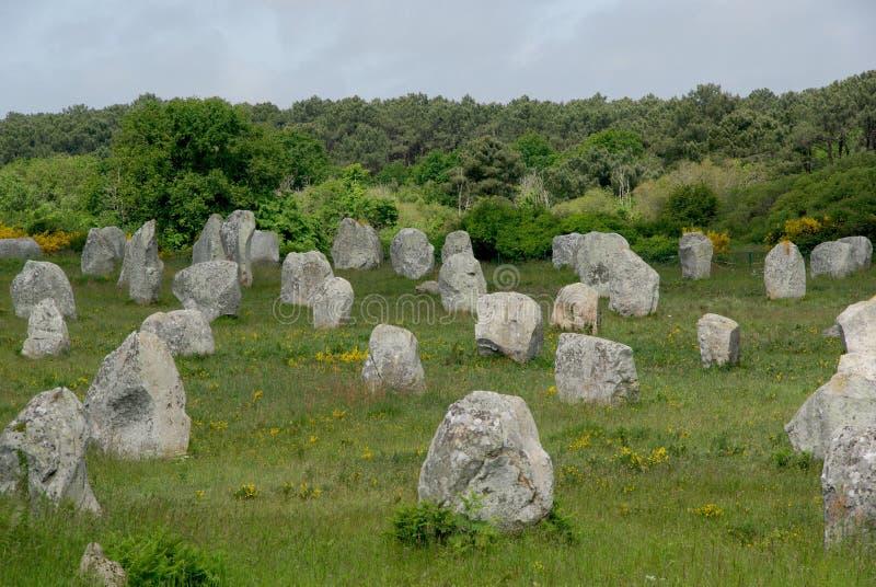 Menhirs néolithiques de Carnac image stock