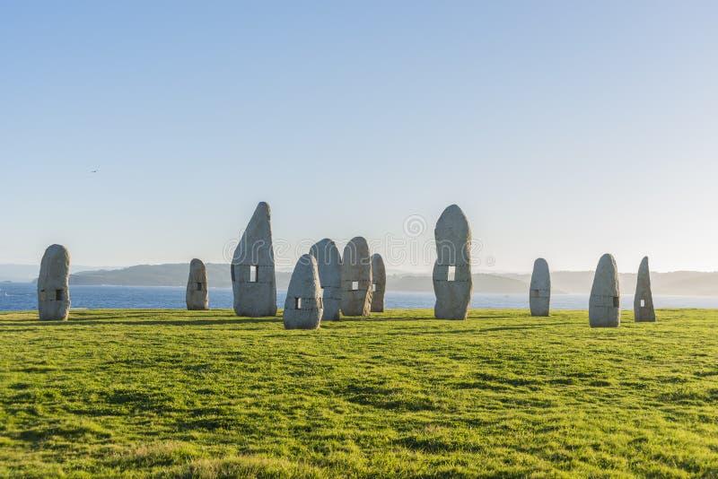 Menhirs parkują w Coruna, Galicia, Hiszpania obraz stock