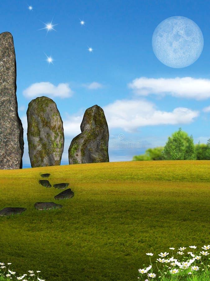 Menhirs Rij stock illustratie