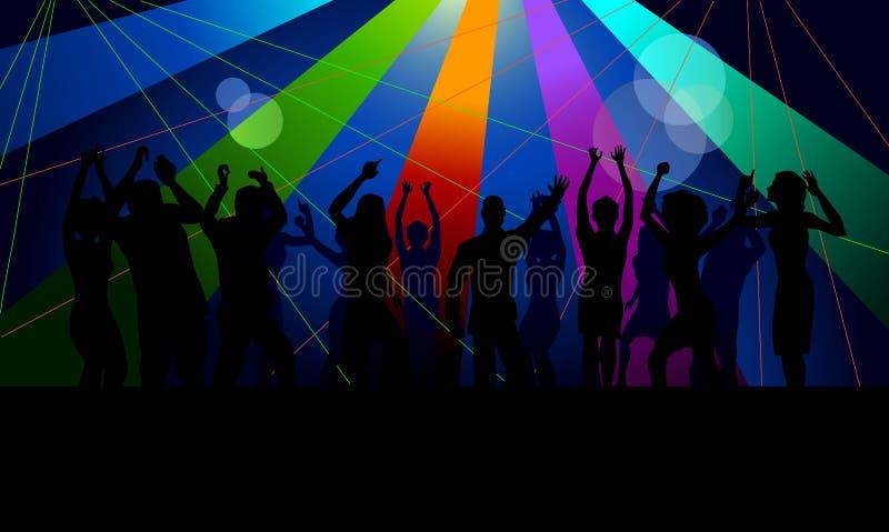 Menigte die in club dansen royalty-vrije stock afbeelding