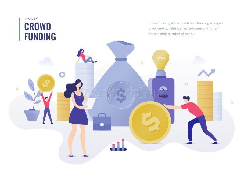 Menigte die Vlak Illustratieconcept financieren royalty-vrije illustratie
