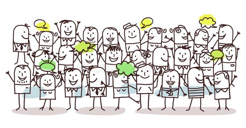 Menigte en geluk royalty-vrije illustratie