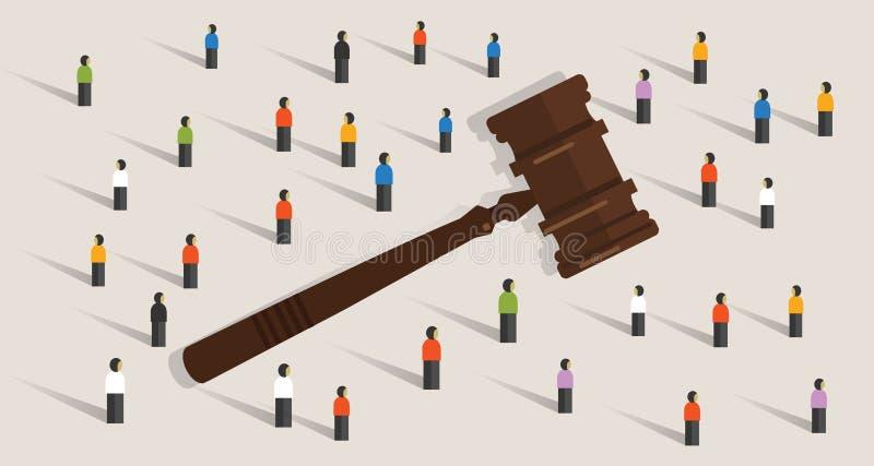 Menigte en het symboolconcept van de hamerhamer sociaal oordeelbesluit in wettelijk en ethiek stock illustratie