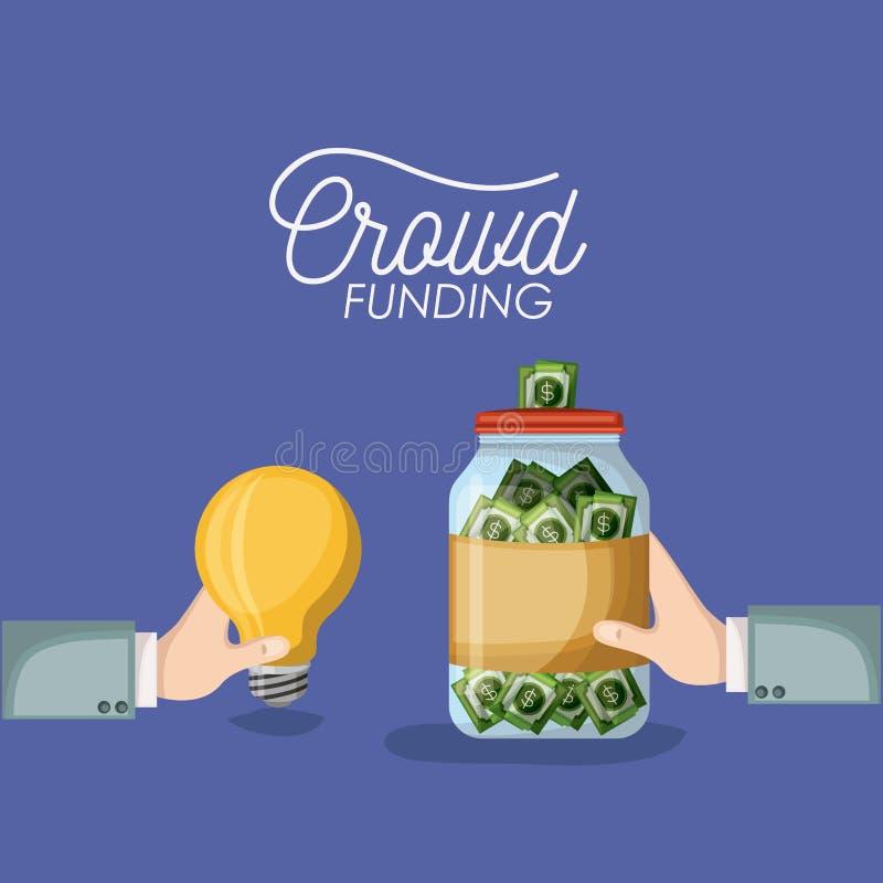 Menigte financieringsaffiche met handen die gloeilamp en fles met de besparingen van geldrekeningen in purpere kleur als achtergr royalty-vrije illustratie