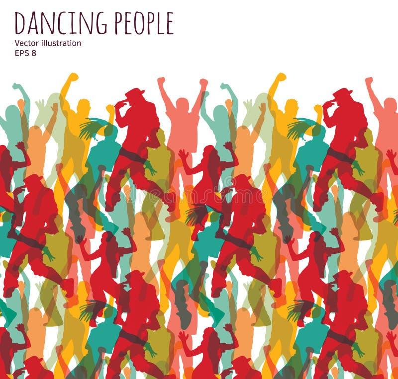 Menigte gelukkige dansende mensen vector illustratie