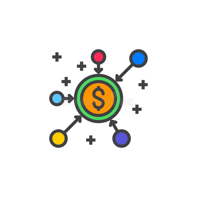 Menigte het pictogram van de financieringslijn, gevuld lineair overzichts vectorteken, royalty-vrije illustratie