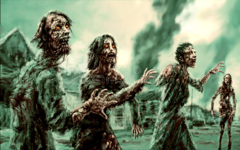 Menigte lopende zombieën tegen achtergrond van het branden van stad royalty-vrije illustratie
