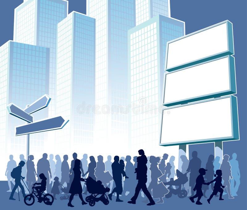 Menigte in stad vector illustratie