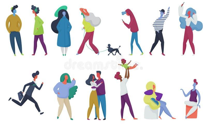 Menigte van geplaatste vector uiterst kleine mensen Ouders met jong geitje, paar in liefde, studenten met huisdier Man en vrouwen royalty-vrije illustratie