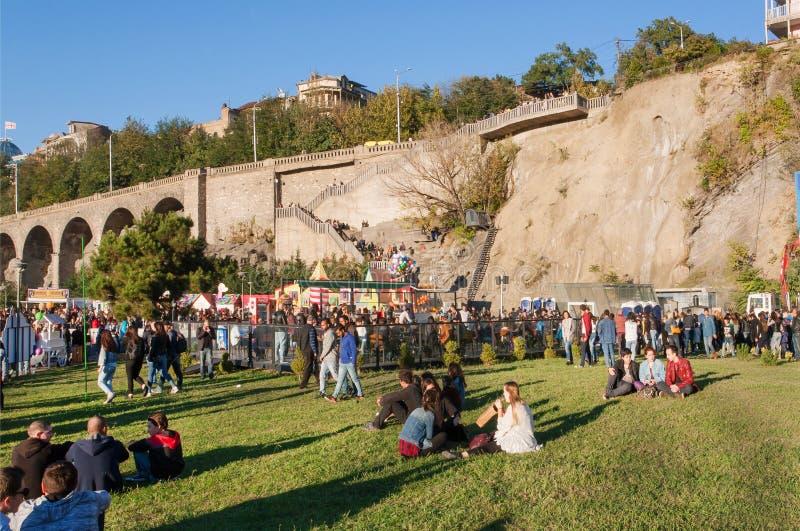 Menigte van jongeren die op gras van park Rike in Tbilisi zitten stock foto