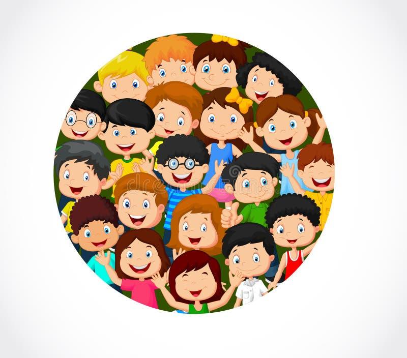 Menigte van kinderenbeeldverhaal met lege ruimte vector illustratie