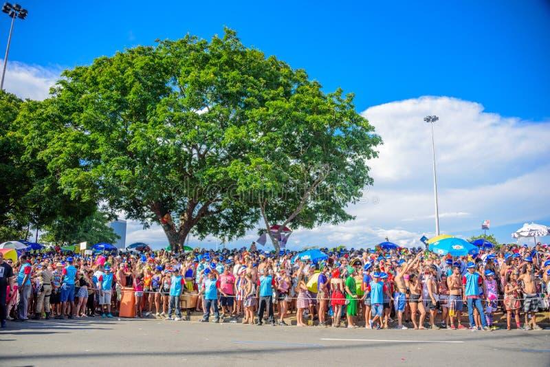 Menigte van kostuummensen in blauwe sunhat die in Flamengo-Park op Bloco Orquestra Voadora, Carnaval 2017 wachten royalty-vrije stock afbeelding
