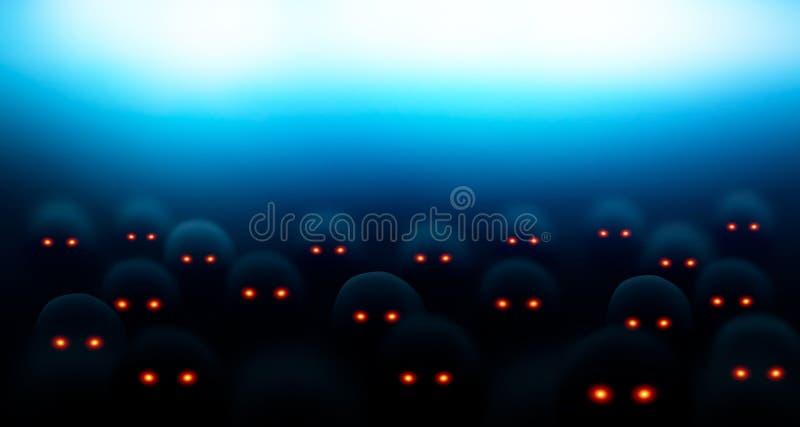 Menigte van kwade zombieën Enge schepselen in dark met lichtgevende ogen Mutanten in dark onder een helder licht Vector royalty-vrije illustratie