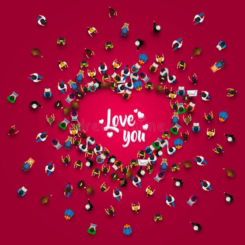 Menigte van mensen in de vorm van een hartsymbool stock illustratie