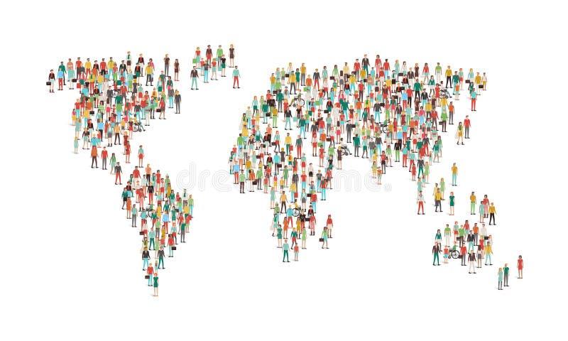 Menigte van mensen die een wereldkaart samenstellen