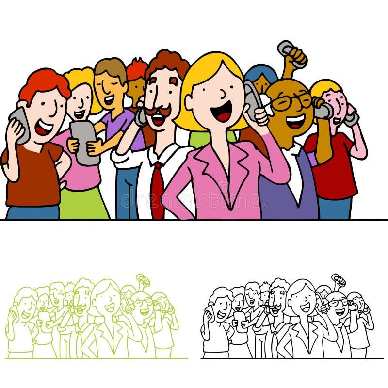 Menigte van Mensen die Telefoons met behulp van vector illustratie