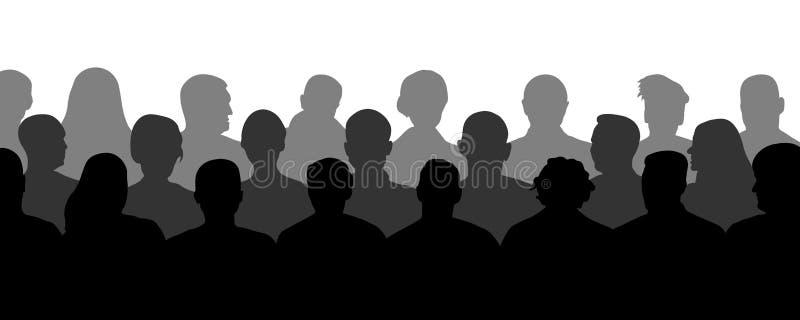 Menigte van mensen in het auditorium, silhouetvector Publieksbioskoop, theater vector illustratie