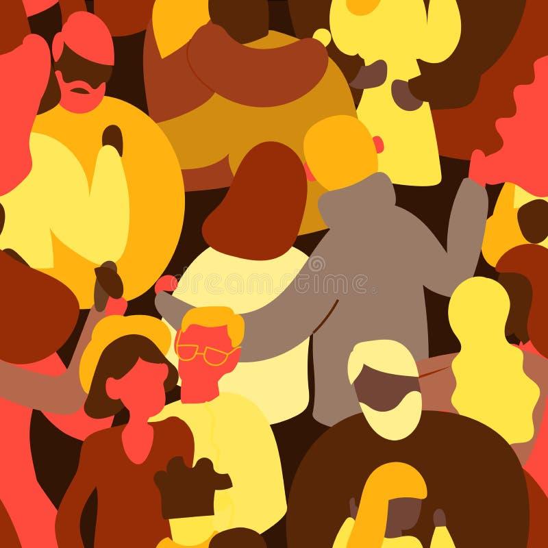 Menigte van mensen naadloos patroon Uiterst kleine man en vrouw Het verschillende ras van de paren heteroseksuele vrolijke lesbis vector illustratie
