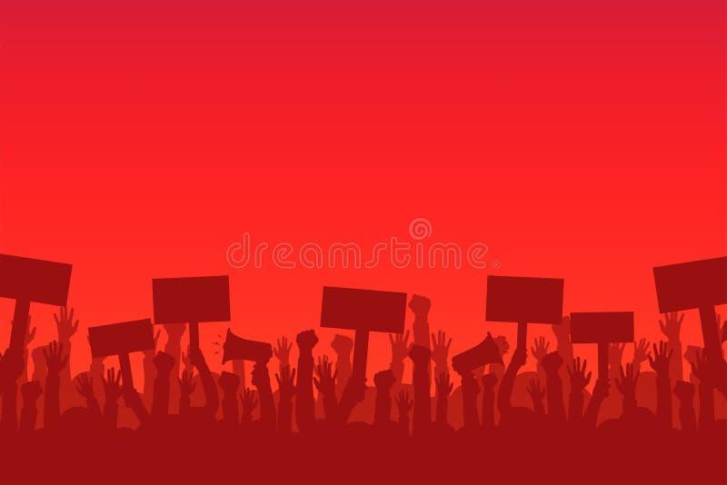 Menigte van protesteerdersmensen Silhouetten van mensen met banners en megafoons Concept revolutie of protest vector illustratie