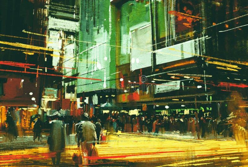 Menigten van mensen bij een bezige kruisingsstraat stock illustratie