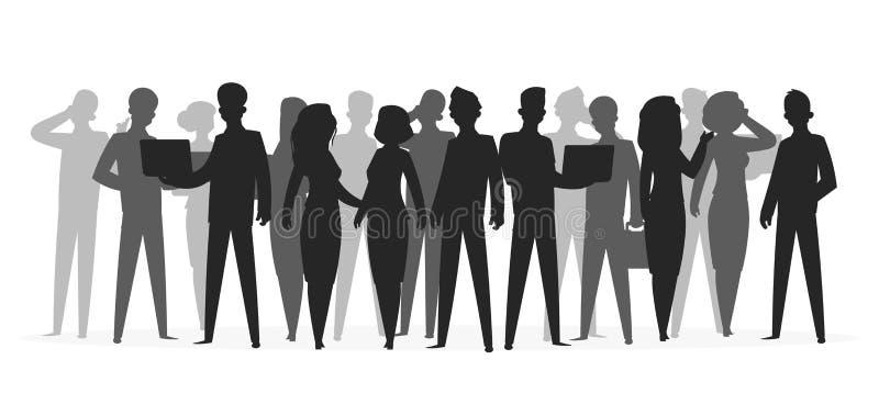 Menigtesilhouet De mensen groeperen van de de bedrijfs schooljongen van de schaduw jonge vriend de menigte grote mensensilhouette royalty-vrije illustratie