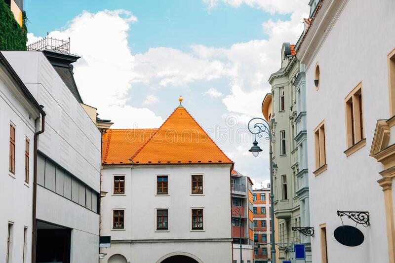 Menin gate and old town in Brno, Czech Republic. Europe stock photo