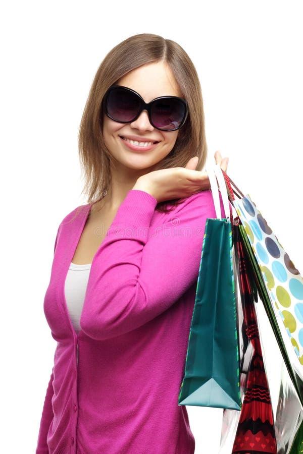 Menina à moda com sacos de compra imagens de stock