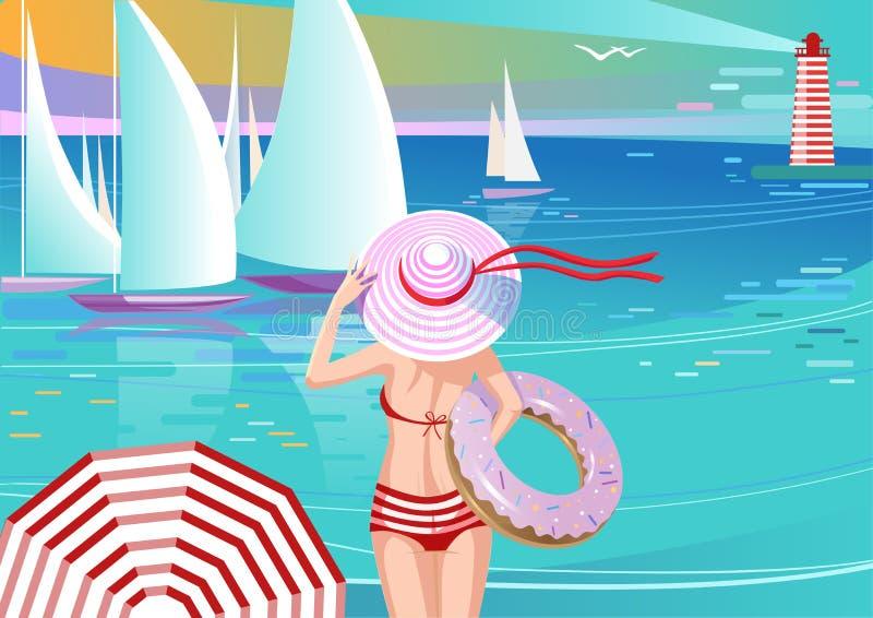 Menina à moda em iate de observação do chapéu ilustração do vetor