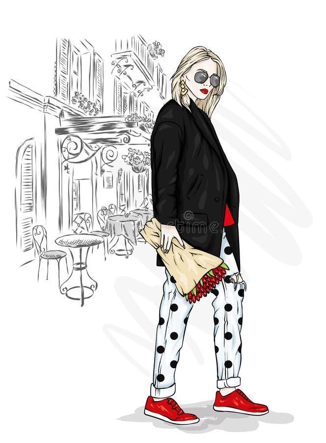 Menina à moda em um revestimento e em calças de brim Ilustração do vetor Menina bonita com um ramalhete das flores ilustração stock