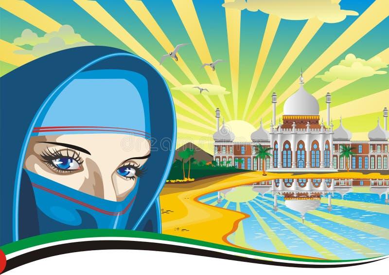 Menina árabe Palácio árabe na costa ilustração stock