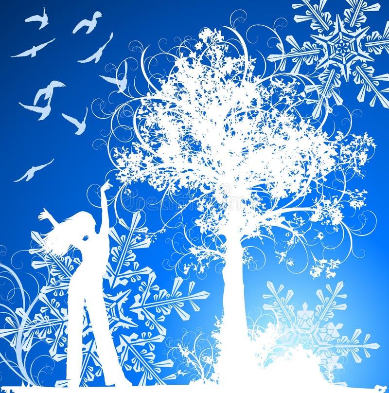 Menina, árvore, pássaros & flocos de neve ilustração stock