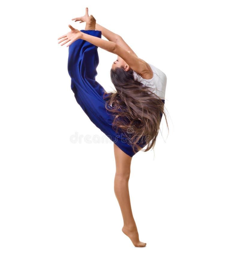 A menina é contratada na ginástica da arte isolada imagem de stock