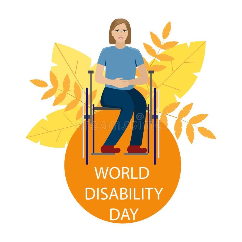 A menina é deficiente em uma cadeira de rodas Dia da inabilidade do mundo ilustração do vetor