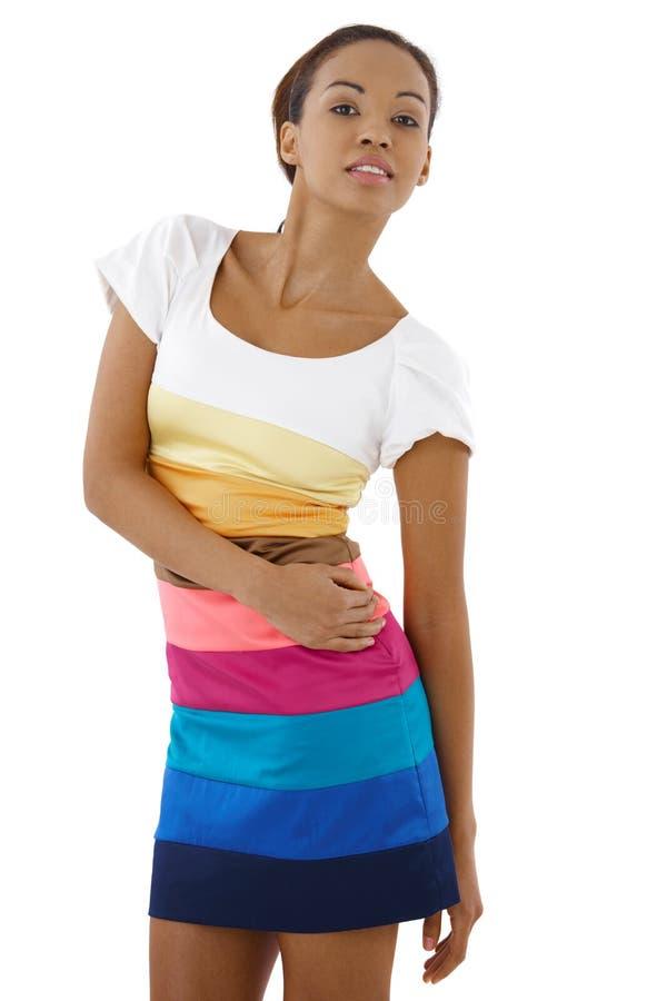 Menina étnica atrativa no vestido bonito imagem de stock