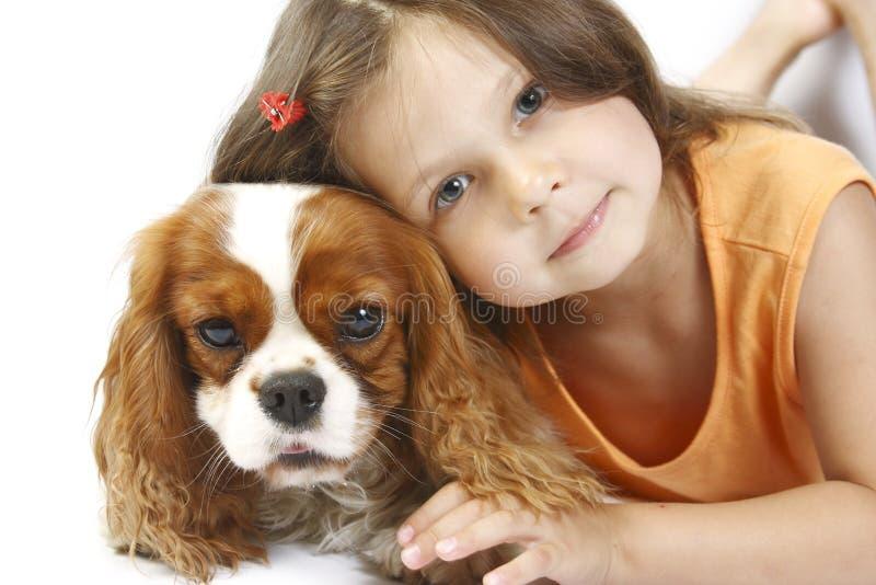 a menina 5 anos velha e o cão isolou-se fotos de stock royalty free