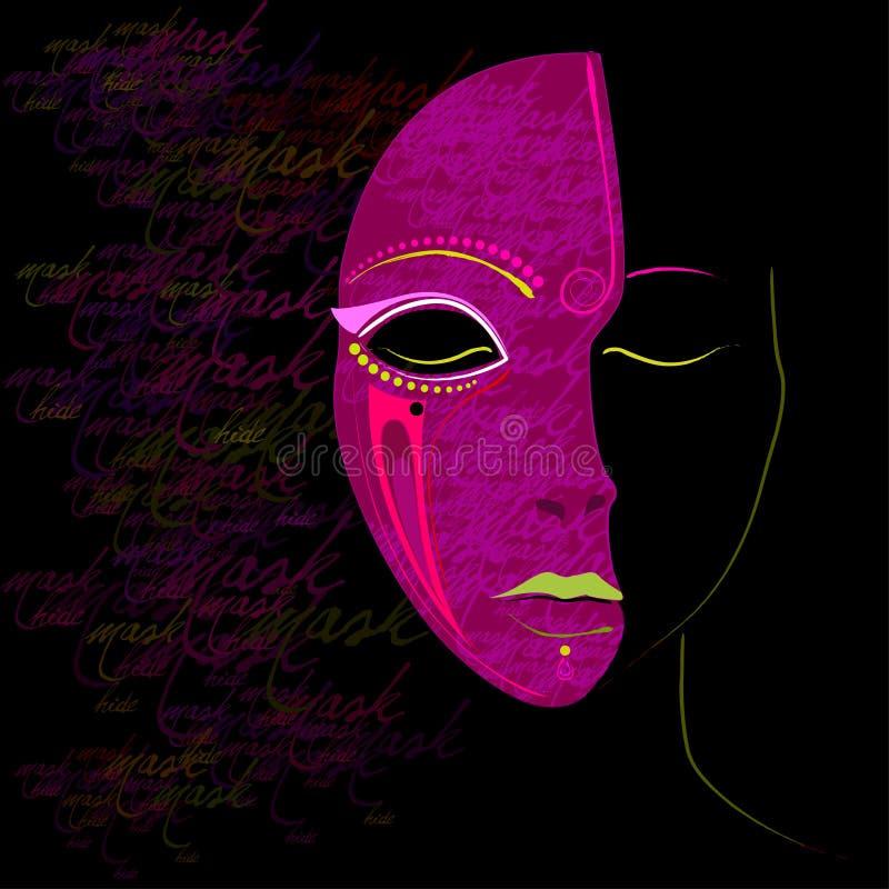Menina abstrata ilustrada com máscara ilustração do vetor