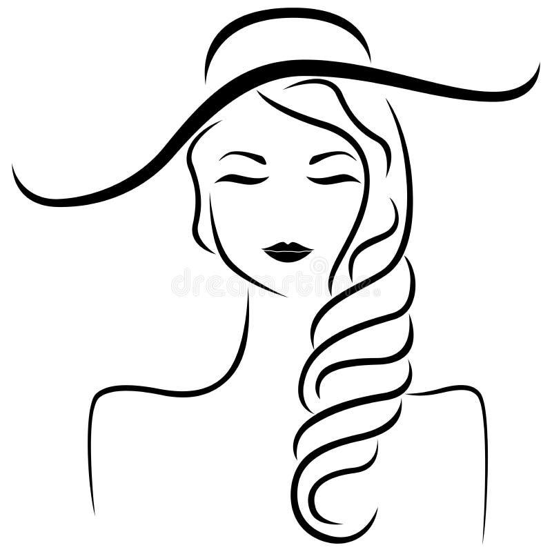 Menina abstrata no retrato estilizado do chapéu ilustração stock