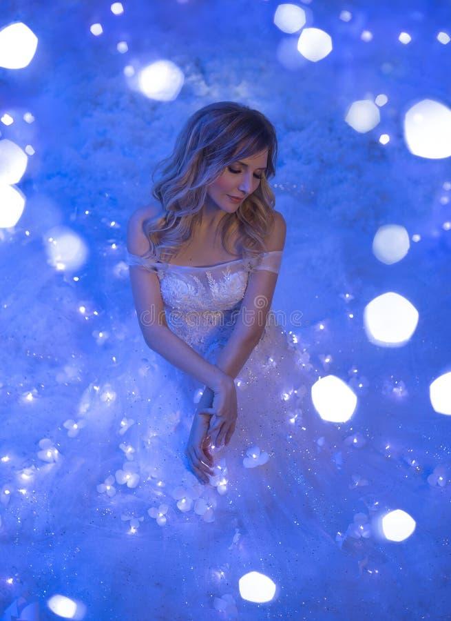 A menina acordou na noite de Natal e em sua sala um milagre girado, mágica transformou-a em uma princesa feericamente imagens de stock royalty free