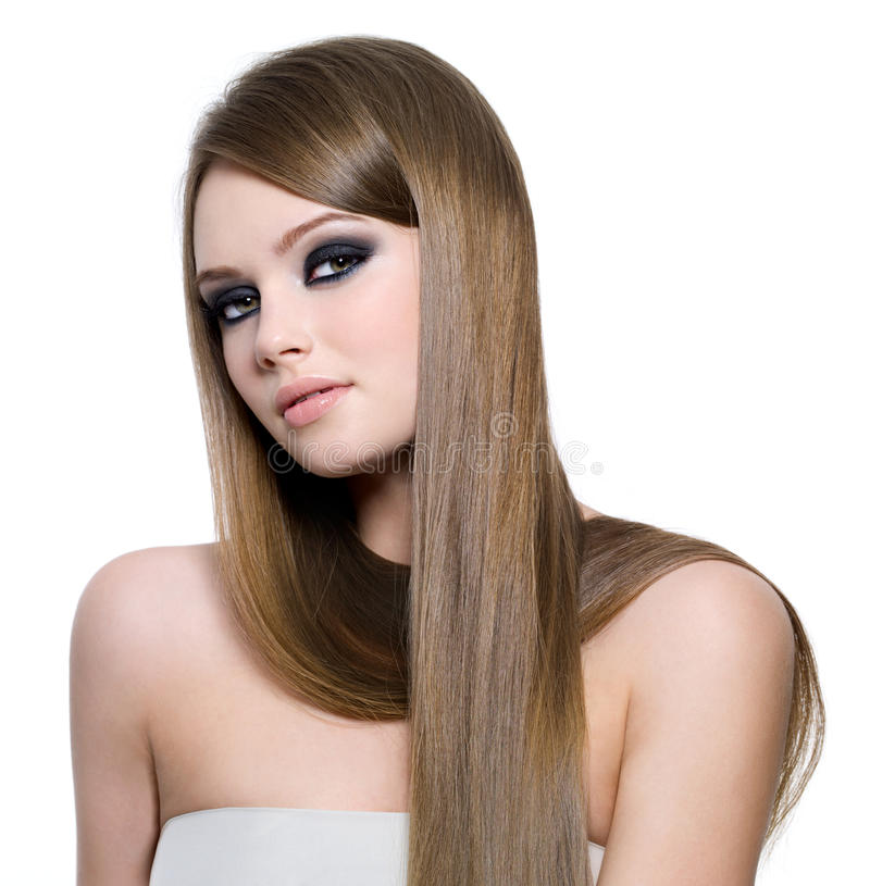 Menina adolescente bonita com cabelo reto longo imagens de stock royalty free