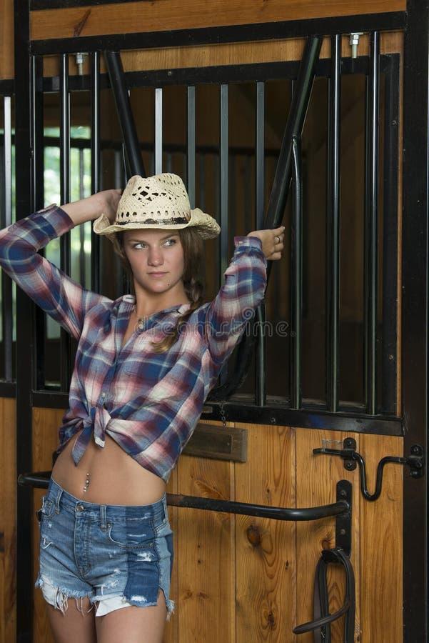 A menina adolescente bonito no vestuário da equitação levanta no celeiro fotos de stock royalty free